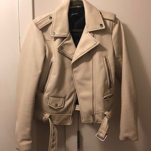 Faux cream leather jacket
